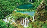Озеро с водопадом фотообои размер 368 х 254 см
