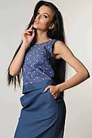 Джинсовая летняя блузка топ 42-52 размера джинс-красный, фото 1