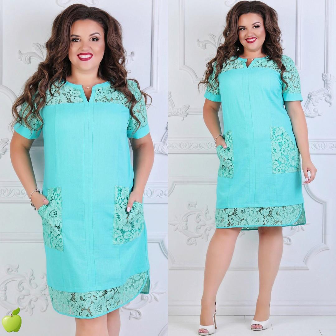 346d18b8 Женское красивое летние платье лен+кружево большие размеры 52,54,56 ...