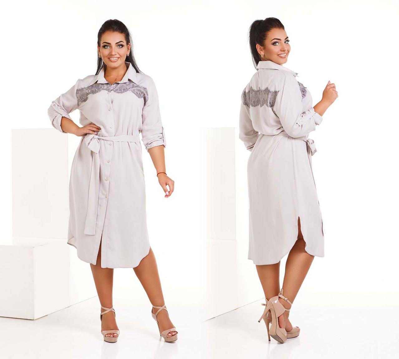 """Женское стильное платье-рубашка в больших размерах 4185 """"Штапель Кружево Миди Поясок"""""""