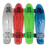 Скейт BT-YSB-0051 пластик.прозрачный, свет.PU колеса 56*15 см.  1,8 кг 4цв.ш.к./8/