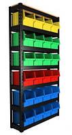 Торговый метизный стеллаж с пластиковыми ящиками для инструмента ART24-П/ контейнер под метиз, фото 1