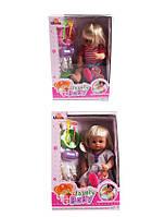 Кукла функциональный 20117-B/C  2вида,  музыкальная игрушка детская  пьет-пис,тарелка,лож,вилка,бут,расч,горшок,в коробке 29*42*16
