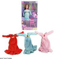 Кукла Беременная 196A 3 вида,со стульчиком, бутылочкой, в коробке 33*18*5,5 см.