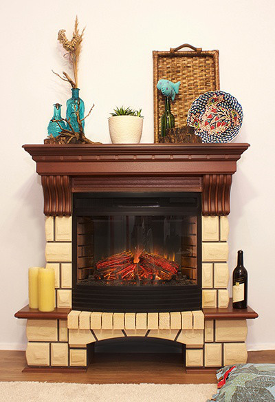 Підлоговий каминокомплект Fireplace Рим Пісочний + Горіх ефект живого полум'я зі звуком і обігрівом