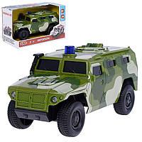 Джип PLAY SMART 9706C Автопарк воен. инерционная открываются люк, двери  , музыкальная игрушка детская свет.коробке 22,3*11,8*12,7 ш.к./36/