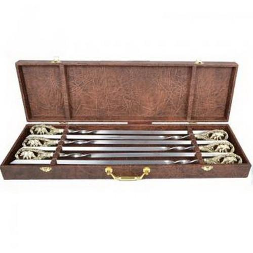 """Набор шампуров ручной работы """"Медведи"""", рукоять бронза (3х10мм, 60см), 6 шт. в кейсе"""