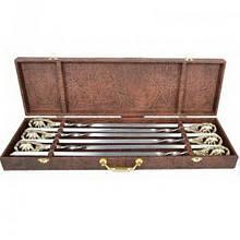 """Набір шампурів ручної роботи """"Ведмеді"""", рукоять бронза (3х10мм, 60см), 6 шт. в кейсі"""