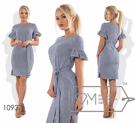 Платье в клеточку с воланами на рукавах, фото 2