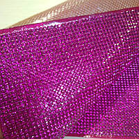 Термо ткань из страз Fuchsia. Размер страз SS6 (1.9-2.0 мм). Цена за отрез 1х24 см