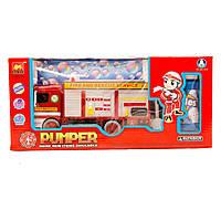 музыкальная игрушка детская Пожарная Игрушечная машинка B928A    батарейки , свет, мыльные пузыри, в коробке  34*16*11 см.