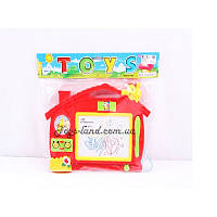Доска для рисования 0121B-1 цветной рисунок,с часами, палочкой, в пакете