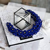 Синий ободок (обруч) ручной работы с розочками из фоамирана