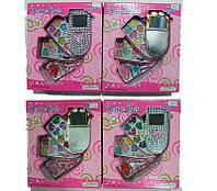 Косметика детская  Телефон детский 30312/30312B  4 вида, 3 яруса, помада,блески,тени,лак,кисточки, в коробке