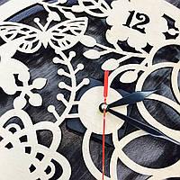 Настенные эко-часы «Весенние мотивы» (40 см) [Натуральное дерево, Открытые]