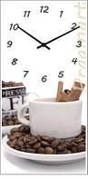 """Настенные часы на кухню """"Кофе"""" (250х500мм) [Стекло, Открытые]"""