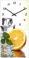 """Настенные часы в столовую """"Лимон и мята"""" (250х500мм) [Стекло, Открытые]"""