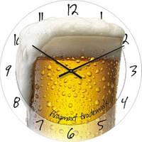 """Настенные часы в столовую """"Бокал пива"""" (300мм)  белые PraGMart-278-300 [Стекло, Открытые]"""