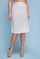 Женская юбка Плиссе, серебро, р.S,M,L