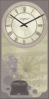 "Часы настенные винтаж ""Прованс - Патефон"" (225х450мм) [Стекло, Открытые]"