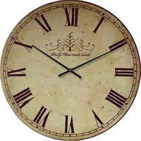 """Часы настенные под ретро """"Римские цифры 3"""" (300мм)  бежевые PraGMart-229-300 [Стекло, Открытые]"""
