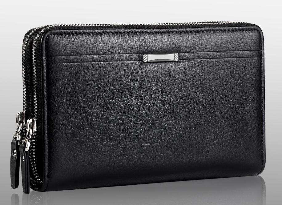 Чоловічий гаманець чорний клатч на блискавках код 254
