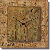 """Необычные настенные часы """"Египетская фреска, египет"""" [Стекло, Открытые]"""