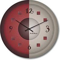 """Оригинальные настенные часы """"Напополам, белый коричневый"""" (300мм)  коричневые PraGMart-405-300 [Стекло, Открытые]"""