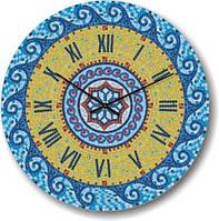 """Оригинальные настенные часы """"Мозаичные волны, голубые"""" (300мм)   PraGMart-103-300 [Стекло, Открытые]"""