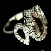 Кольцо с Розовым Кварцем и фианитами
