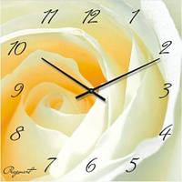 """Часы настенные """"Белая роза"""" (300мм) [Стекло, Открытые]"""