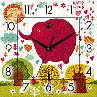 "Настенные часы в детскую 300Х300Х16мм ""Розовый слон"" [МДФ, Открытые] UTA-CH-001 белые"