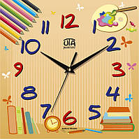 """Настенные часы в детскую комнату 300Х300Х16мм """"Карандаши"""" [МДФ, Открытые] UTA-CH-010 бежевые"""