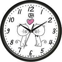 """Настенные часы в детскую комнату 300Х300Х45мм """"Котики"""" [Пластик, Под стеклом] UTA-01-B-63 черные"""