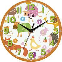 Настенные часы в детскую комнату 240Х240Х30мм [МДФ, Открытые] UTA-M-07 оранжевые