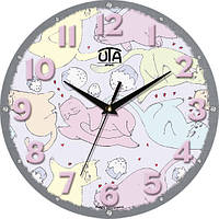 "Настенные часы в детскую комнату 240Х240Х30мм ""Прованс"" [МДФ, Открытые] UTA-M-15 серые"