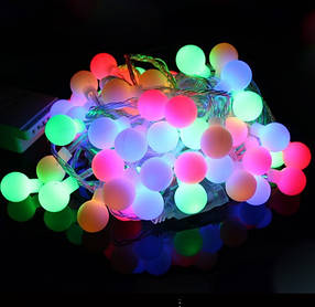 Гирлянда Шарики 50 LED RGB на белом проводе 5 метров
