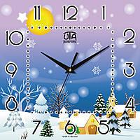 """Часы настенные для детей 300Х300Х16мм """"Зимняя сказка"""" [МДФ, Открытые] UTA-NY-005"""