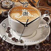 """Часы на кухню """"Чашка кофе"""" [МДФ, Открытые] UTA-K-005 коричневые"""