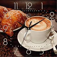 """Часы кухонные настенные """"Кофе с круассаном"""" [МДФ, Открытые] UTA-K-018 коричневые"""