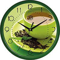 Настенные часы в кухню 300Х300Х45мм [Пластик, Под стеклом] UTA-01-GR-21 зеленые