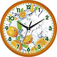 """Настенные часы на кухню """"Цитрусы"""" [Пластик, Под стеклом] UTA-01-Or-74 оранжевые"""