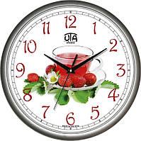 Настенные часы на кухню 300Х300Х45мм [Пластик, Под стеклом] UTA-01-S-69 серебристые