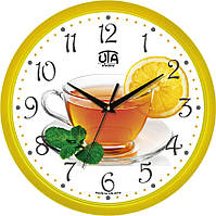 """Часы кухонные настенные """"Чай с лимоном"""" [Пластик, Под стеклом] UTA-01-Y-70 желтые"""