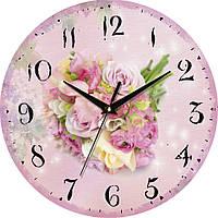 """Настенные часы в стиле прованс 330Х330Х30мм """"Прованс"""" [МДФ, Открытые] UTA-065-VP розовые"""