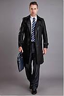 Длинный мужской кожаный плащ пальто