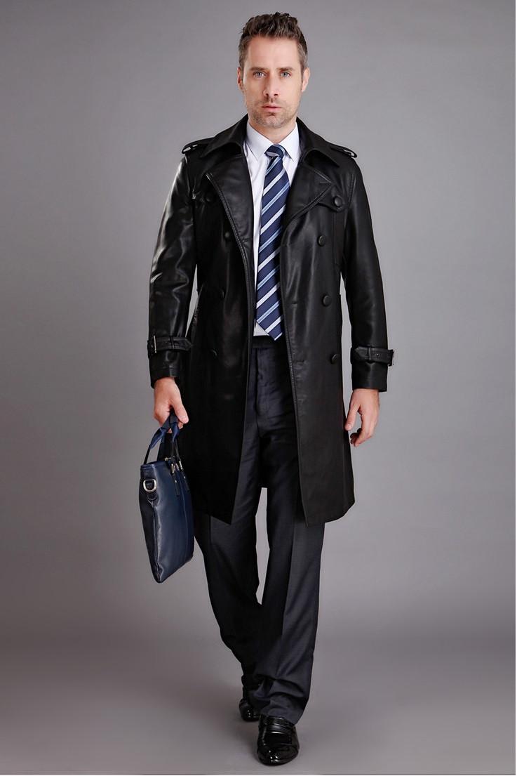 a9fb67b1 Длинный мужской кожаный плащ пальто - Интернет-магазин