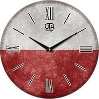"""Настенные часы 330Х330Х30мм """"Флаг Польши"""" [МДФ, Открытые] UTA-017-VT красные"""