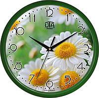 """Настенные часы 300Х300Х45мм """"Ромашки"""" [Пластик, Под стеклом] UTA-01-GR-23 зеленые"""