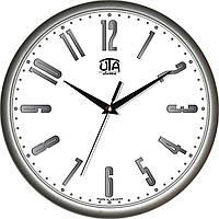 Офисные настенные часы 300Х300Х45мм [Пластик, Под стеклом] UTA-01-S-12 серебристые